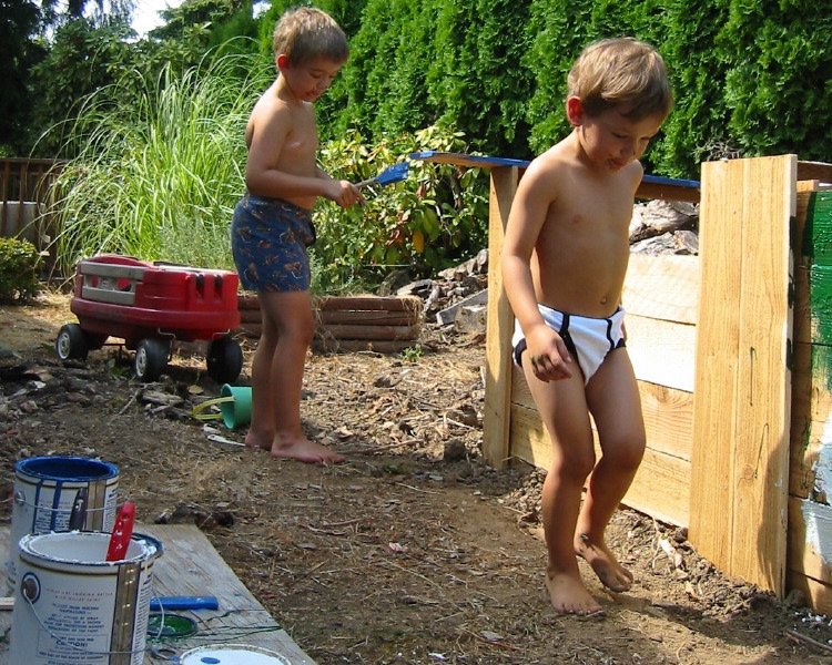 Three cans of paint, two little boys in their underwear, lots of fun.